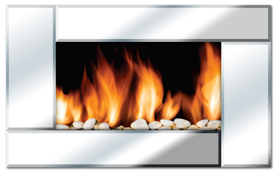 Even Glow Reflection Beveled Mirror Fireplace